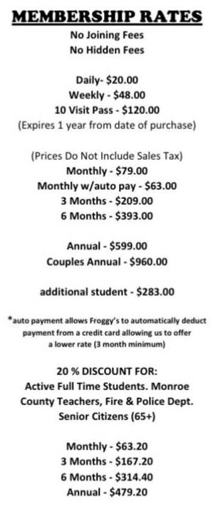 Froggy's Membership Rates
